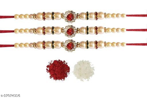 Tvesa Creations Send Rakhi for Brother/ Bhai/ Bro/ Kids/ Bhabhi White American Diamond Colourful Stone on Wooden Beads Thread Rakhi With Roli Chawal (Pack of 3 Rakhi)