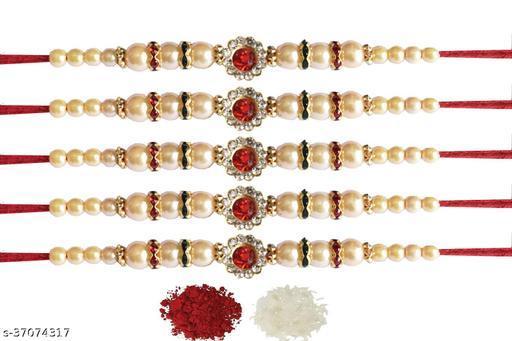 Tvesa Creations Send Rakhi for Brother/ Bhai/ Bro/ Kids/ Bhabhi White American Diamond Colourful Stone on Wooden Beads Thread Rakhi With Roli Chawal (Pack of 5 Rakhi)