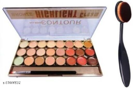 kiss beauty Allround Bronze Highligh Contour Cream Palette (24 Shades) With Contour Brush  (2 Items in the set)