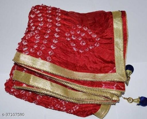 Best Price In Heavy Trending Polka Dot's Bandhej Dupatta with Beautiful Lace Border ( Red )