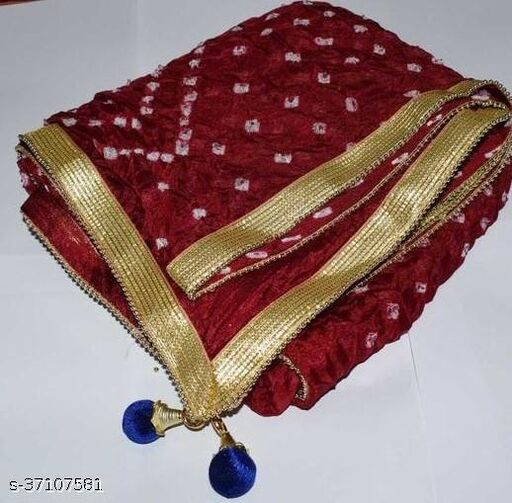 Best Price In Heavy Trending Polka Dot's Bandhej Dupatta with Beautiful Lace Border ( Maroon )