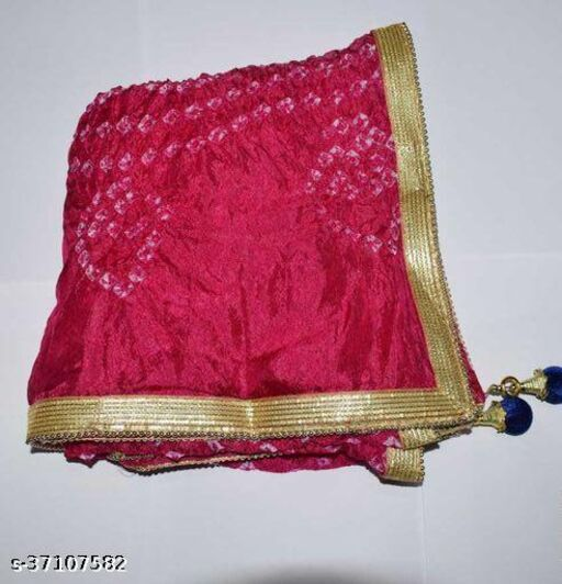 Best Price In Heavy Trending Polka Dot's Bandhej Dupatta with Beautiful Lace Border ( Pink )