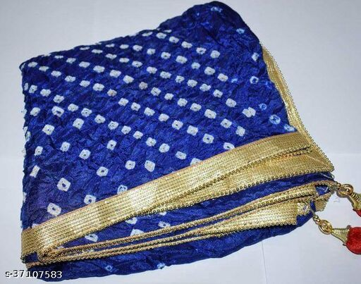 Best Price In Heavy Trending Polka Dot's Bandhej Dupatta with Beautiful Lace Border ( Blue )