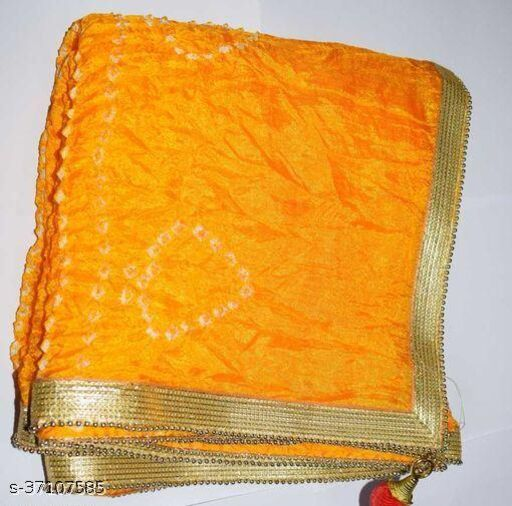 Best Price In Heavy Trending Polka Dot's Bandhej Dupatta with Beautiful Lace Border ( Yellow )