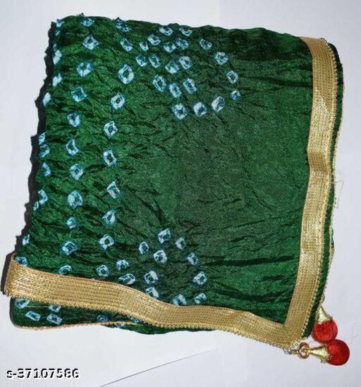 Best Price In Heavy Trending Polka Dot's Bandhej Dupatta with Beautiful Lace Border ( Green )