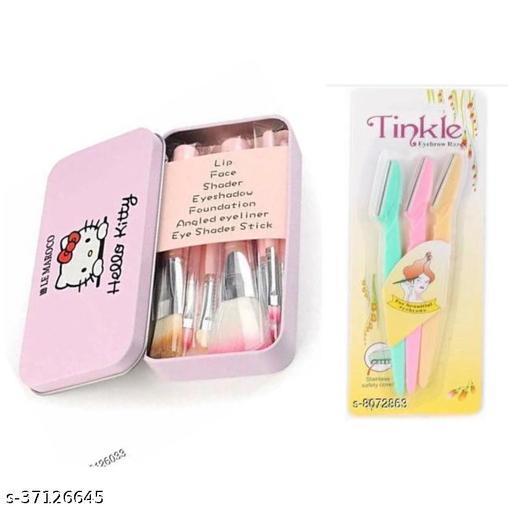 Hello kitti mini pink brushes kit & tinkle eyebrow razor combo