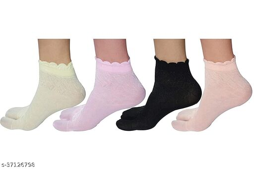 Starvis Ankle/High Ankle Designer Frilled Self Embroidery Socks for Women With Thumb Pack of 4 Pair (Multicolor)