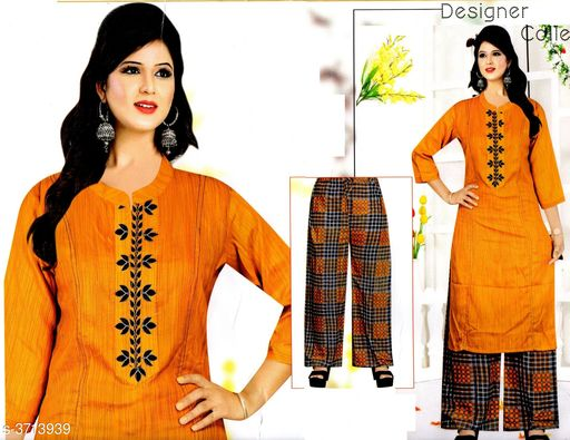 Kurta Sets Comfy Attractive Women's Kurta Set   *Fabric* Kurta - Cotton , Palazzo - Cotton    *Sleeves* Sleeves Are Included   *Size* Kurta - M - 38 in , L - 40 in, XL - 42 in, XXL - 44 in , Palazzo -  M - 30 in , L - 32 in, XL - 34 in, XXL - 36 in   *Length* Up To 40   *Type* Stitched   *Description* It Has 1 Piece Of Women's Kurta And Palazzo   *Work * Kurta - Printed , Palazzo - Printed  *Sizes Available* M, L, XL   Supplier Rating: ★4.1 (88) SKU: 520-YELLOW  Free shipping is available for this item. Pkt. Weight Range: 300  Catalog Name: Drishya Comfy Attractive Women's Kurta Set Vol 4 - batuk_trading Code: 668-3713939--
