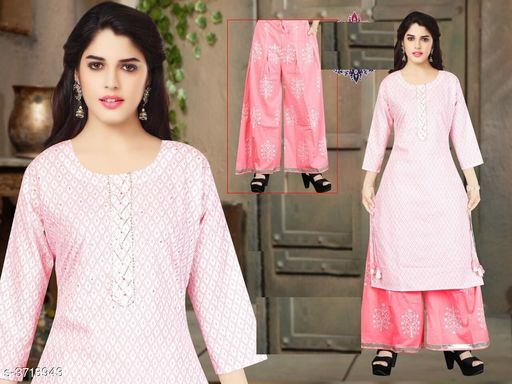 Kurta Sets Comfy Attractive Women's Kurta Set   *Fabric* Kurta - Cotton , Palazzo - Cotton    *Sleeves* Sleeves Are Included   *Size* Kurta - M - 38 in , L - 40 in, XL - 42 in, XXL - 44 in , Palazzo -  M - 30 in , L - 32 in, XL - 34 in, XXL - 36 in   *Length* Up To 40   *Type* Stitched   *Description* It Has 1 Piece Of Women's Kurta And Palazzo   *Work * Kurta - Printed , Palazzo - Printed  *Sizes Available* M, L, XL   Supplier Rating: ★4.1 (88) SKU: 521-PINK  Free shipping is available for this item. Pkt. Weight Range: 300  Catalog Name: Drishya Comfy Attractive Women's Kurta Set Vol 4 - batuk_trading Code: 668-3713943--
