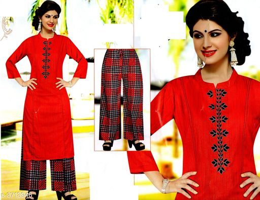 Kurta Sets Comfy Attractive Women's Kurta Set   *Fabric* Kurta - Cotton , Palazzo - Cotton    *Sleeves* Sleeves Are Included   *Size* Kurta - M - 38 in , L - 40 in, XL - 42 in, XXL - 44 in , Palazzo -  M - 30 in , L - 32 in, XL - 34 in, XXL - 36 in   *Length* Up To 40   *Type* Stitched   *Description* It Has 1 Piece Of Women's Kurta And Palazzo   *Work * Kurta - Printed , Palazzo - Printed  *Sizes Available* M, L, XL   Supplier Rating: ★4.1 (88) SKU: 520-RED Free shipping is available for this item. Pkt. Weight Range: 300  Catalog Name: Drishya Comfy Attractive Women's Kurta Set Vol 4 - batuk_trading Code: 668-3713946--