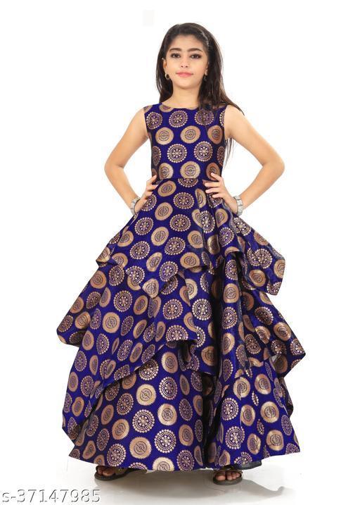 Kids Ethnic Wedding Festival Wear Gown For Girls