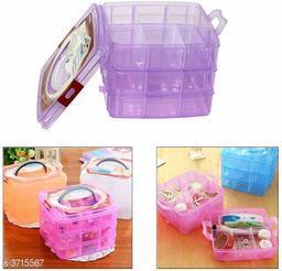 1 Multiperpose 18 Grid 3 Layer Plastic Storage Organizer (Multi Color)