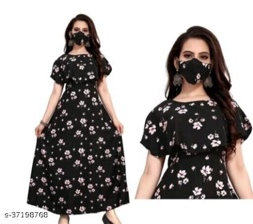AJ-New American flair crepe dresses With Mask
