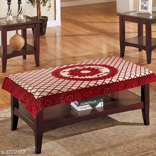 Cotton 4 Seater Centre Table Cover with Flower Design (Red, 40x60 inches)
