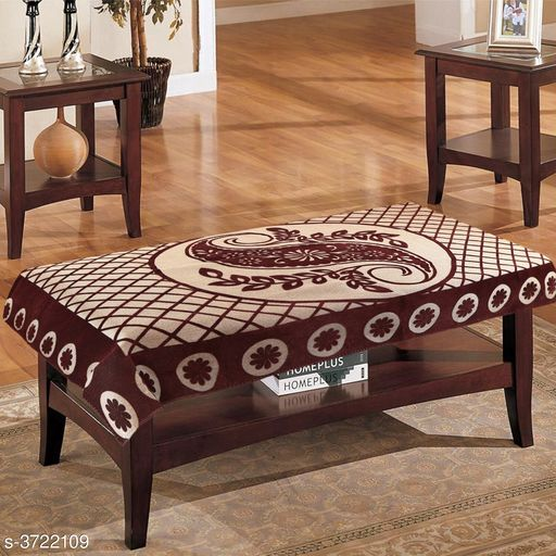 Cotton 4 Seater Leave Design Centre Table Cover (Brown, 40x60 inches)