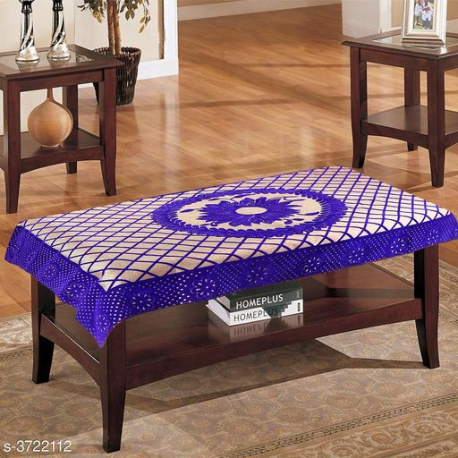 Premium Cotton 4 Seater Centre Table Cover with Flower Design (Color-Blue, for Size 40x60 inches)