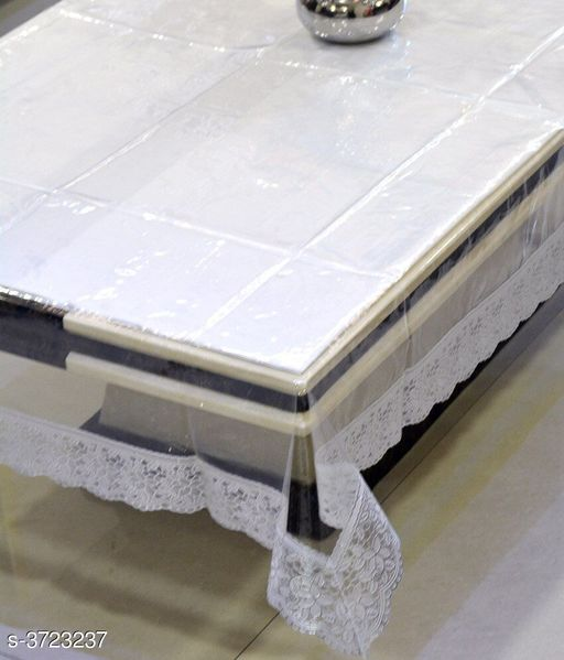 E-Retailer™ Stylish Transparent With Silver Lace Center Table Cover