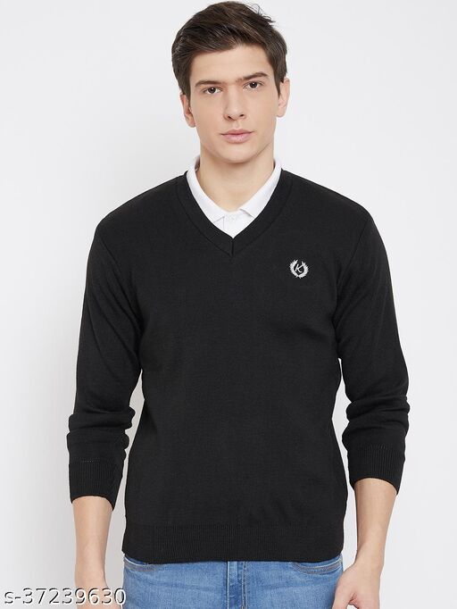 Kartoon club Winter Wear Casual Solid V- Neck Sweaters For Men's