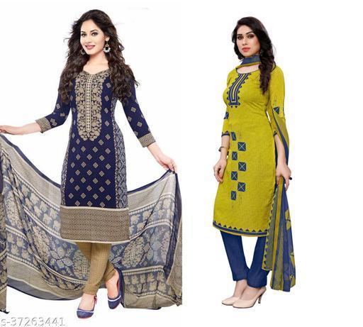 Priya Fashion Of Printed Dress Material (pack of 2)