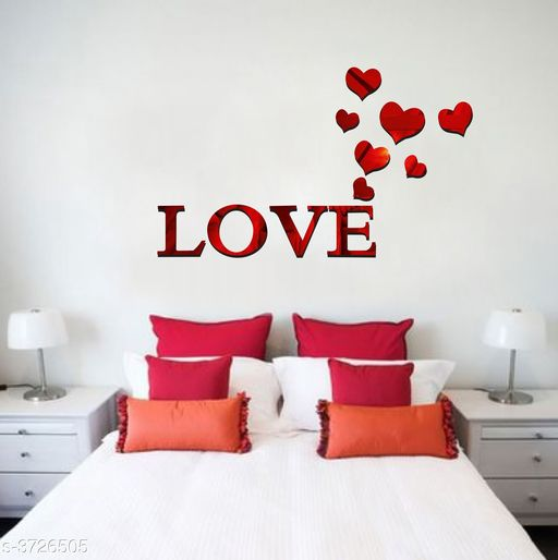 Decorative Stickers Designer Fancy Acrylic Wall Sticker  *Product Name* Creatick Studio Love Letter Hearts Patterns TV Background Decor Mirror Surface Crystal Wall Stickers Acrylic 3D Home Decal Living Room Murals Wall Paper adesivo de parede ( Red )  *Material* Acrylic  *Size* (H x W)- 45 cm X 76 cm  *Description* It Has 1 Piece Of Wall Sticker  *Work* Printed  *Sizes Available* Free Size *    Catalog Name: Shine Designer Fancy Acrylic Wall Stickers Vol 16 CatalogID_520866 C127-SC1267 Code: 091-3726505-