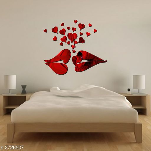 Decorative Stickers Designer Fancy Acrylic Wall Sticker  *Product Name* Creatick Studio Lip Love Heart Acrylic Wall Sticker, Acrylic Silver Love 3D Mirror Modern Acrylic Art Wall Decal Valentines Gift Home Living Room TV Background Decoration Detachable ( Red )  *Material* Acrylic  *Size* (H x W)- 39 cm X 45 cm  *Description* It Has 1 Piece Of Wall Sticker  *Work* Printed  *Sizes Available* Free Size *    Catalog Name: Shine Designer Fancy Acrylic Wall Stickers Vol 16 CatalogID_520866 C127-SC1267 Code: 091-3726507-
