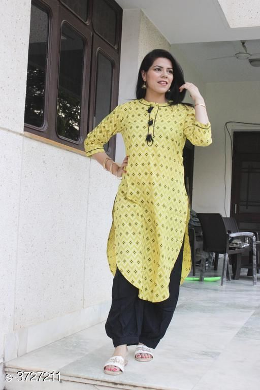 Kurta Sets Attractive Women's Kurta Set  *Fabric* Kurti - Cotton, Bottom -  Rayon  *Sleeves* Sleeves Are Included  *Size* Kurti  - M - 38 in , L - 40 in, XL - 42 in, XXL - 44 in ,Bottom - M - 30 in , L - 32 , XL - 34 in, XXL -36 in  *Type* Stitched  *Length* Kurti - Up To 46 in,  Bottom - Up To 38 in  *Description* It Has 1 Piece Of Women's Kurti With 1 Piece Of Bottom  *Work* Kurti - Printed, Pattern  *Sizes Available* M, L, XL, XXL   Catalog Rating: ★4.5 (4) Supplier Rating: ★4.2 (201) SKU: image31 Shipping charges: Rs1 (Non-refundable) Pkt. Weight Range: 500  Catalog Name: Siya Attractive Women's Kurta Sets Vol 7 - Morni Ethnic Center Code: 127-3727211--849