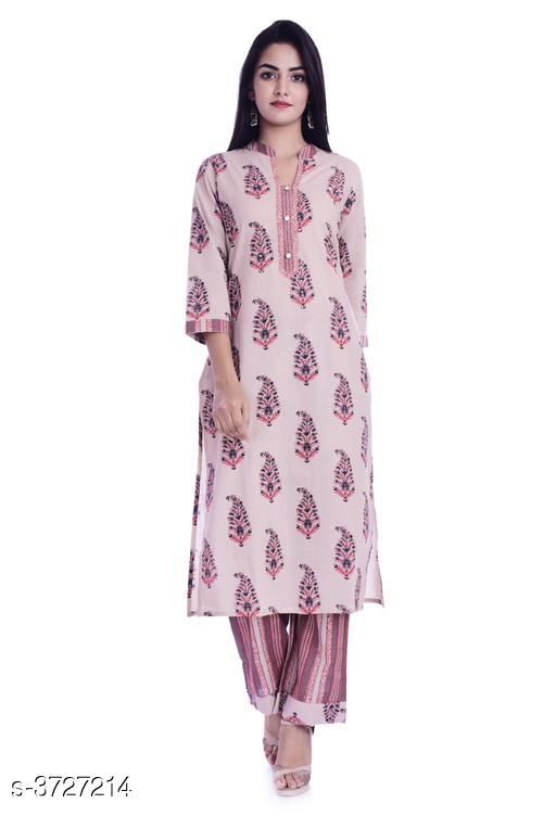 Kurta Sets Attractive Women's Kurta Set  *Fabric* Kurti - Cotton , Bottom - Cotton  *Sleeves* Sleeves Are Included  *Size* Kurti  - M - 38 in , L - 40 in, XL - 42 in, XXL - 44 in ,Bottom - M - 30 in , L - 32 , XL - 34 in, XXL -36 in  *Type* Stitched  *Length* Kurti - Up To 46 in,  Bottom - Up To 38 in  *Description* It Has 1 Piece Of Women's Kurti With 1 Piece Of Bottom  *Work* Kurti - Printed, Bottom - Printed  *Sizes Available* M   Catalog Rating: ★4.5 (4) Supplier Rating: ★4.2 (201) SKU: image014 Shipping charges: Rs1 (Non-refundable) Pkt. Weight Range: 500  Catalog Name: Siya Attractive Women's Kurta Sets Vol 7 - Morni Ethnic Center Code: 566-3727214--478