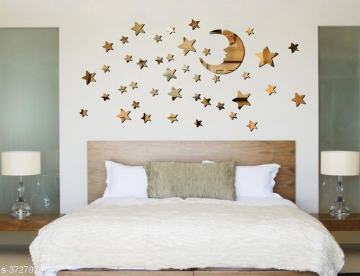 Decorative Stickers Designer Fancy Acrylic Wall Sticker  *Product Name* Creatick Studio Acrylic Wall Sticker Moon Stars DIY Acrylic Mirror Wall Art Sticker Decals Removable Home Décor  *Material* Acrylic  *Size* (H x W)- 45 cm X 91 cm  *Description* It Has 1 Piece Of Wall Sticker  *Work* Printed  *Sizes Available* Free Size *    Catalog Name: Shine Designer Fancy Acrylic Wall Stickers Vol 1 CatalogID_521117 C127-SC1267 Code: 091-3727970-