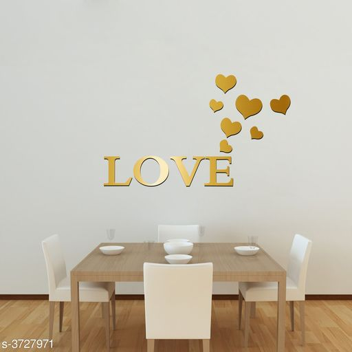 Decorative Stickers Designer Fancy Acrylic Wall Sticker  *Product Name* Creatick Studio Love Letter Hearts Patterns TV Background Decor Mirror Surface Crystal Wall Stickers Acrylic 3D Home Decal Living Room Murals Wall Paper adesivo de parede  *Material* Acrylic  *Size* (H x W)- 45 cm X 76 cm  *Description* It Has 1 Piece Of Wall Sticker  *Work* Printed  *Sizes Available* Free Size *    Catalog Name: Shine Designer Fancy Acrylic Wall Stickers Vol 1 CatalogID_521117 C127-SC1267 Code: 091-3727971-