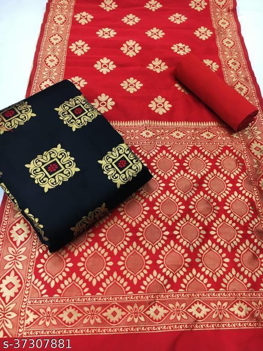 Anni Designer Black Color Banarasi Jacquard Silk Weaving Dress Material (BANARASI-34-BLACK)