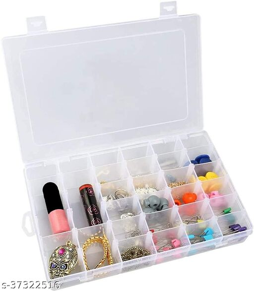 36 Grids Clear Plastic Storage Box with Adjustable Dividers Organizer Pills Drugs Earrings Bead Jewelry Small Storage Box Case MAKEUP Vanity Box Pack Of 1