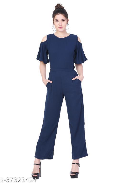 Stylemyth Women Hosiery Lycra Designer Casual Blue Jumpsuit