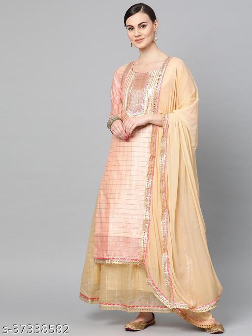 Ishin Women's Chanderi Silk Peach & Beige Embellished A-Line Kurta Skirt Dupatta Set