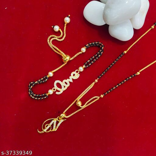 LATEST NAME MANGALSUTRA WITH LOVE BRACELET