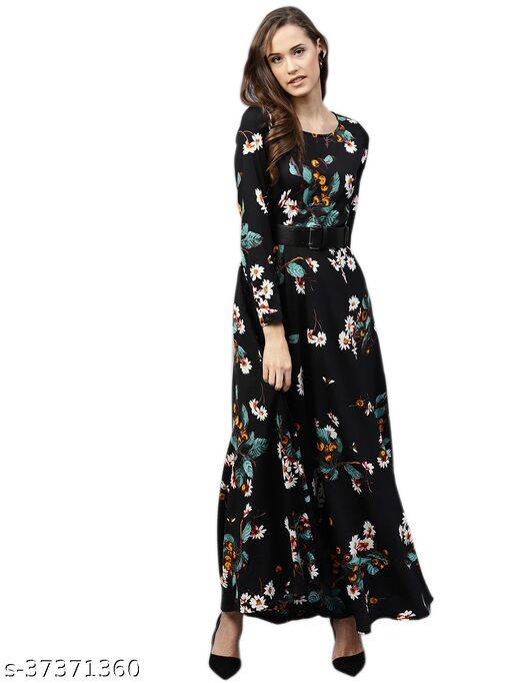 Brown Beauty Women Black Floral Print Maxi Dress