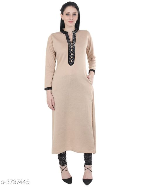 Kurta Sets Women's Solid Wool Kurta set with Churidar  *Fabric* Kurti  - Woolen, Legging -  Woolen  *Sleeves* Sleeves Are Included  *Size* Kurti  *Length* Kurti- Up To 48 in, Legging - Up To 38 in  *Type* Stitched  *Description* It  Has 1 Piece Of Kurti With 1 Piece Of Legging  *Work* Kurti  *Sizes Available* M, L, XL, XXL, XXXL, 4XL *   Catalog Rating: ★4.3 (22)  Catalog Name: Women's Solid Wool Kurta Sets CatalogID_522541 C74-SC1003 Code: 1011-3737445-