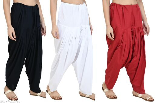 Women Trendy Cotton Patiala Salwar (Set of 3)