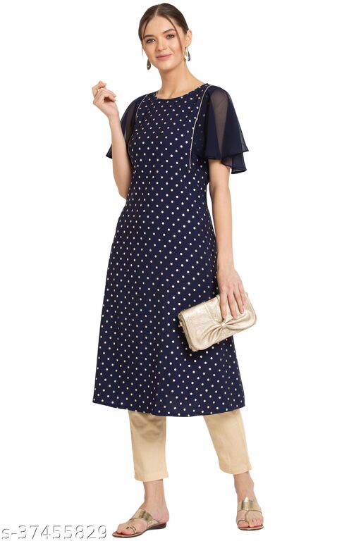 ALCLifestyle Women's Crepe Printed A-Line Kurti