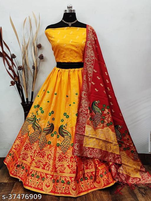 Women's Jacquard Banarsai Silk Semi stitched Lehenga Choli