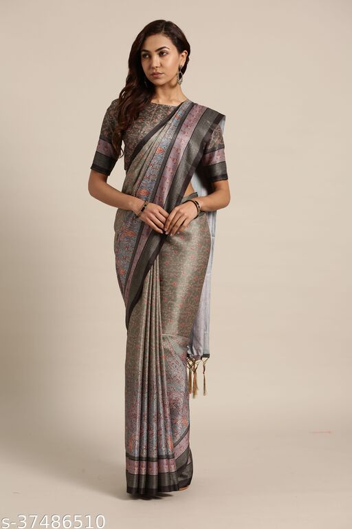 Ayka Grey & Olive Daily Wear Pashmina Silk Geometric Saree With Unstitched Blouse