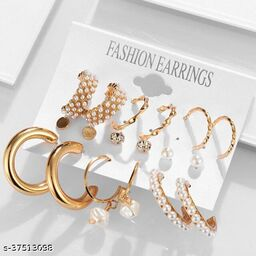 Z Jewels Gracious Pearl & AD Gold Plated 9 Pair of Earrings for Women/Girls