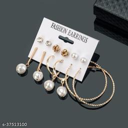 Z Jewels Trendy Pearl Multi Designs Amazing 6 Pair of Earrings For Women/Girls