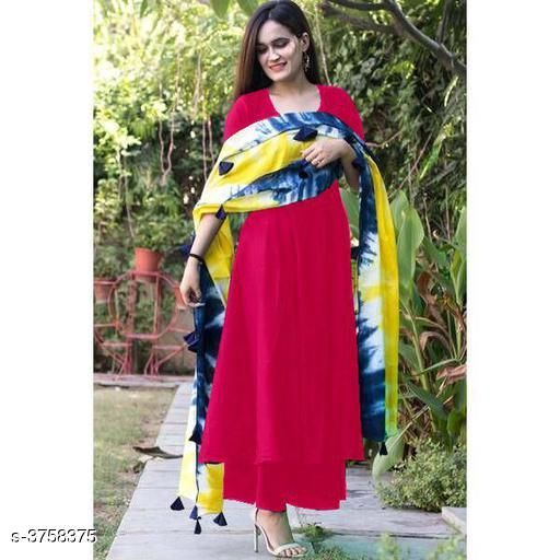 Kurta Sets Classy Women's Kurta Sets  *Fabric* Kurta - Rayon,  Palazzo - Rayon , Dupatta - Mul Mul Cotton   *Sleeves* Sleeves Are Included   *Size* Size   *Length* Kurti - Up To 47 in , Palazzo - Up To 40 in  *Type* Stitched   *Description* It Has 1 Piece Of Women's Kurti , 1 Piece Of Palazzo With 1 Piece Of Dupatta   *Color * Red   *Pattern* Kurti - Solid , Palazzo - Solid , Dupatta - Printed & Tassel  *Sizes Available* S, M, L, XL, XXL   Catalog Rating: ★3.8 (53) Supplier Rating: ★3.9 (18530) SKU: TN004 Shipping charges: Rs1 (Non-refundable) Pkt. Weight Range: 500  Catalog Name: New Trendy Classy Women's Rayon Kurta Sets Vol 5 - RAKSH Code: 687-3758375--609