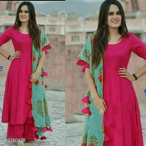 Kurta Sets Trendy Classy Women's Rayon Kurta Set  *Fabric* Kurta - Rayon,  Palazzo - Rayon , Dupatta - Mul Mul  *Sleeves* Sleeves Are Included  *Size* Size  *Length* Kurti - Up To 47 in , Palazzo - Up To 40 in    *Type* Stitched  *Description* It Has 1 Piece Of Women's Kurti , 1 Piece Of Palazzo With 1 Piece Of Dupatta  *Pattern* Kurti - Solid , Palazzo - Solid , Dupatta - Printed  *Sizes Available* S, M, L, XL, XXL, XXXL, 4XL   Catalog Rating: ★3.7 (149) Supplier Rating: ★3.9 (18530) SKU: tr001 Shipping charges: Rs1 (Non-refundable) Pkt. Weight Range: 500  Catalog Name: New Trendy Classy Women's Rayon Kurta Sets Vol 9 - RAKSH Code: 757-3760438--8301