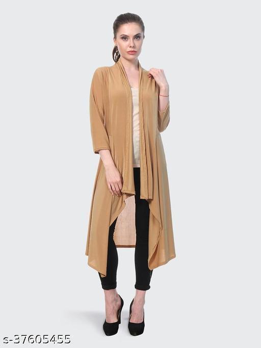 Dimpy Garments Beige Plain Hosiery Lycra Long Shrug For Women