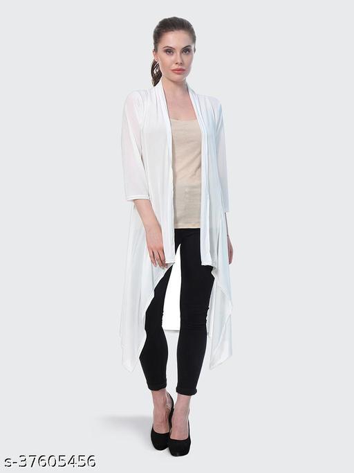 Dimpy Garments White Plain Hosiery Lycra Long Shrug For Women