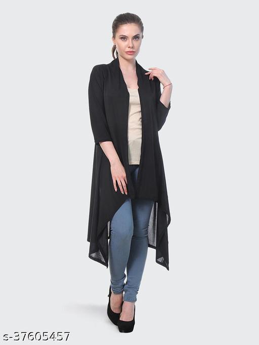 Dimpy Garments Black Plain Hosiery Lycra Long Shrug For Women