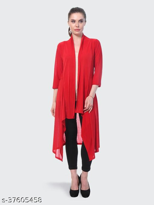 Dimpy Garments Red Plain Hosiery Lycra Long Shrug For Women