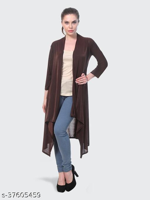 Dimpy Garments Brown Plain Hosiery Lycra Long Shrug For Women