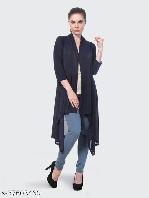 Dimpy Garments Navy Plain Hosiery Lycra Long Shrug For Women